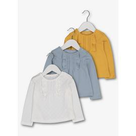 Multicoloured Frill Jersey T-Shirts 3 Pack
