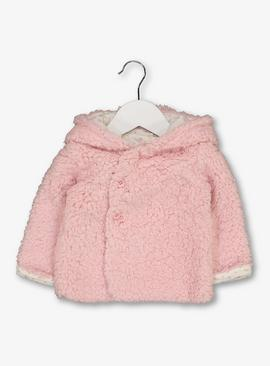 Pink Teddy Faux Fur Hooded Cardigan