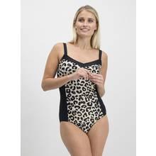 Online Exclusive Black Leopard Print Low Leg Swimsuit
