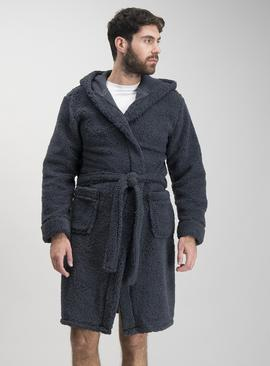 Navy Borg Fleece Hooded Dressing Gown
