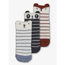 Multicoloured Stripe Animal Terry Sock 3 Pack