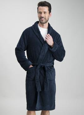 Navy Fleece Soft Dressing Gown