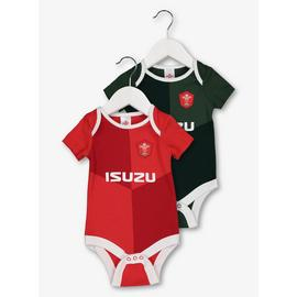 Welsh Rugby Union Red & Green Bodysuit 2 Pack