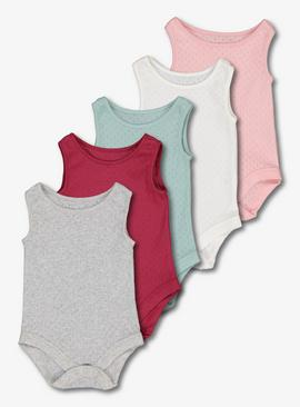 Multicoloured Pointelle Bodysuit 5 Pack