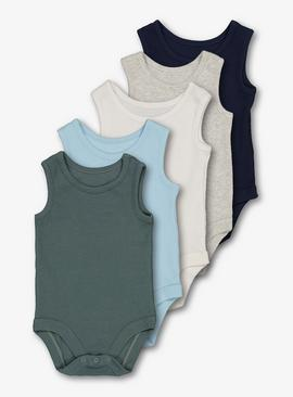 Multicoloured Rib Plain Bodysuits 5 Pack