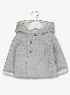 Grey Teddy Faux Fur Hooded Cardigan