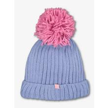 Powder Blue & Pink Knitted Beanie Hat