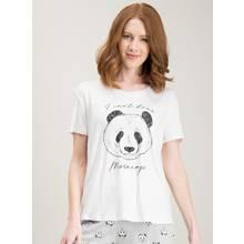 White Monochrome Panda Placement T-Shirt