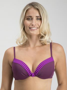 Online Exclusive Purple Shadow Stripe Bikini Top