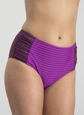 Online Exclusive Purple Stripe High Waisted Briefs