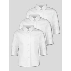 White 3/4 Length School Blouse 3 Pack
