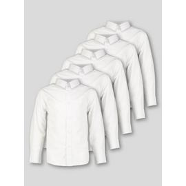 White Long Sleeve Regular Fit Shirt 5 Pack