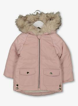 Pink Padded Coat With Hood