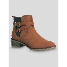 Tan Double Strap Chelsea Ankle Boot