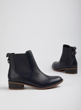 Sole Comfort Navy Leather Chelsea Ankle Boots
