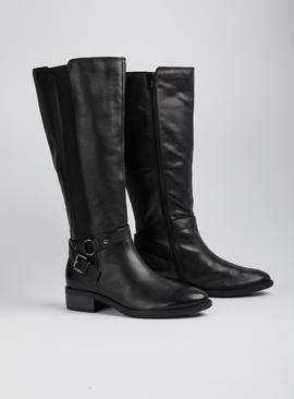 Online Exclusive Sole Comfort Black Wide Calf Leather Rider