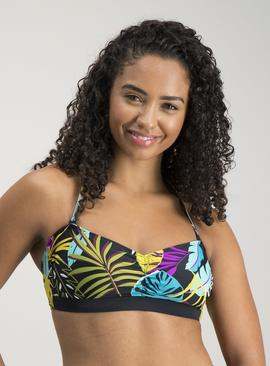 Multicoloured Tropical Print Bandeau Bikini Top