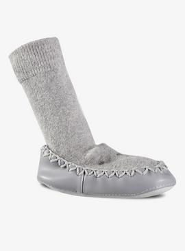 Grey Bear Moccasin Slipper Socks