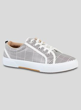 White Check Lace-Up Shoes