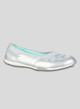 Online Exclusive Silver Leather Ballet Pumps