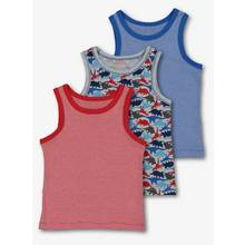 Multicoloured Stripe & Dino Vest 3 Pack
