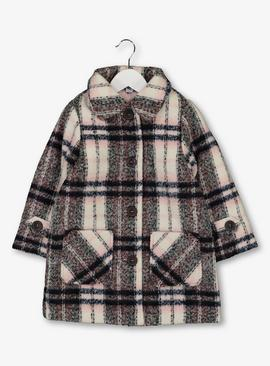 Multicoloured Check Wool Coat