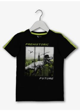 99562a43144 Black   Lime Textured Dinosaur Patch T-Shirt (3-14 years)