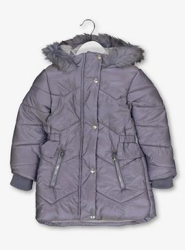 Lilac Fur Trimmed Padded Coat