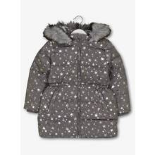 Grey Star Print Padded Coat