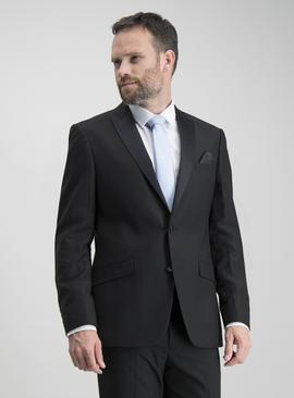 Black Textured Slim Fit Tuxedo Dinner Jacket With Stretch
