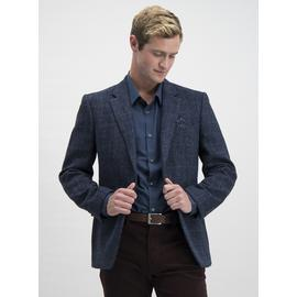 Harris Tweed Navy Tailored Fit Wool Jacket