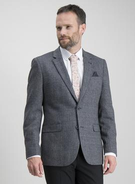 Charcoal Textured Slim Fit Wool Blend Jacket