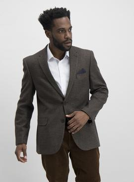 Brown Dogtooth Check Tailored Fit Jacket