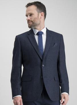 Navy Herringbone Tailored Fit Wool Blend Jacket
