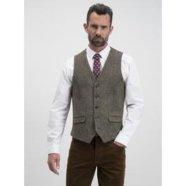 Online Exclusive Harris Tweed Brown Check Waistcoat