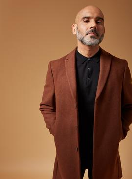 Tobacco Brown Slim Fit Wool Blend Overcoat