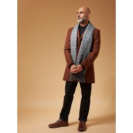 PREMIUM Tobacco Brown Slim Fit Overcoat With Wool