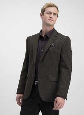 Harris Tweed Brown Multi Textured Tailored Fit Jacket