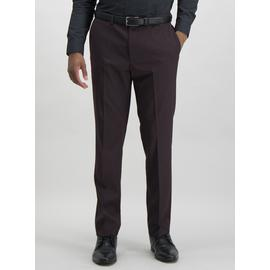Burgundy Slim Suit Trousers With Stretch