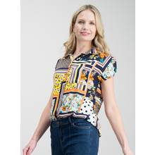 Multicoloured Patchwork Scarf Print Utility Shirt