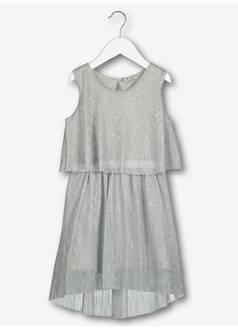 30ac3aecdff5 Tu. Silver Grey Plisse Glitter Detail Dress ...