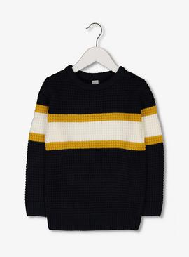 Navy Colour Block Waffle Knit Jumper