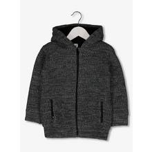 Grey Knitted Borg Lined Hoodie