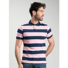 Navy & Pink Stripe Polo Shirt