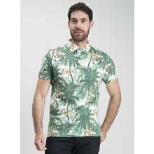Washed Green Palm Tree Print Polo Shirt