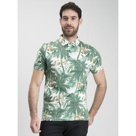 Washed Green Palm Tree Print Polo Shirt