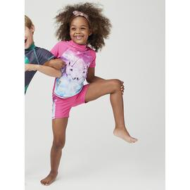 Pink Unicorn Graphic Rash Vest Set