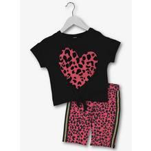 Black & Pink Animal Print T-Shirt & Shorts 2 Piece Set