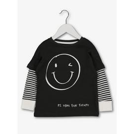 Grey Smiley Face Long Sleeve T-Shirt