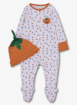 Halloween Multicoloured Pumpkin Sleepsuit & Hat